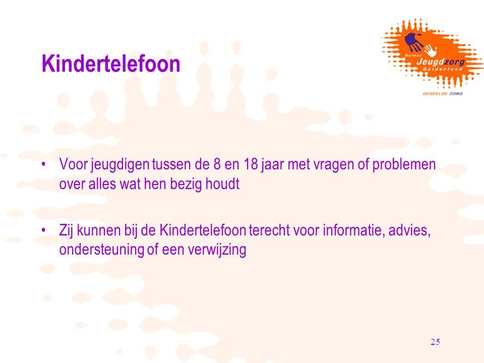 25 Kindertelefoon Voor jeugdigen tussen de 8 en 18 jaar met vragen of problemen over alles wat hen bezig houdt Zij kunnen bij de Kindertelefoon terecht voor informatie, advies, ondersteuning of een verwijzing