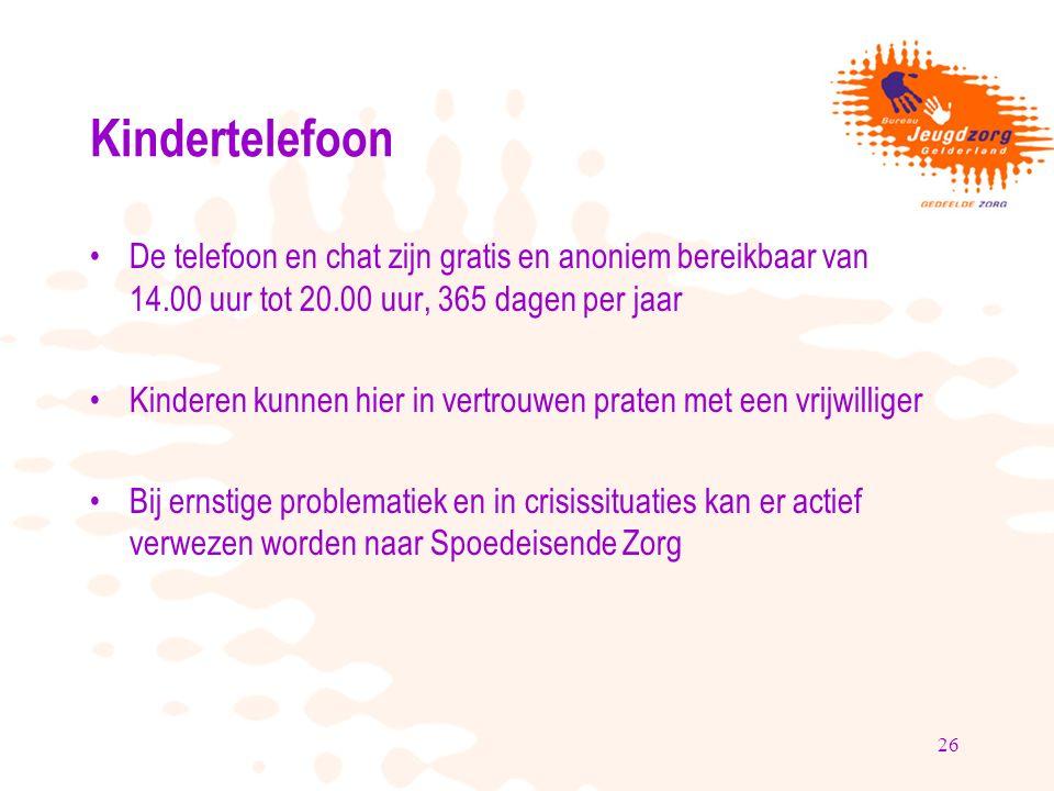 26 Kindertelefoon De telefoon en chat zijn gratis en anoniem bereikbaar van 14.00 uur tot 20.00 uur, 365 dagen per jaar Kinderen kunnen hier in vertrouwen praten met een vrijwilliger Bij ernstige problematiek en in crisissituaties kan er actief verwezen worden naar Spoedeisende Zorg