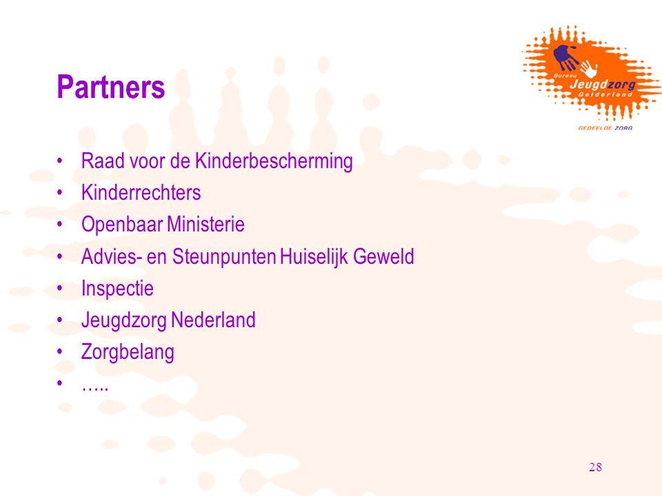 28 Partners Raad voor de Kinderbescherming Kinderrechters Openbaar Ministerie Advies- en Steunpunten Huiselijk Geweld Inspectie Jeugdzorg Nederland Zorgbelang …..