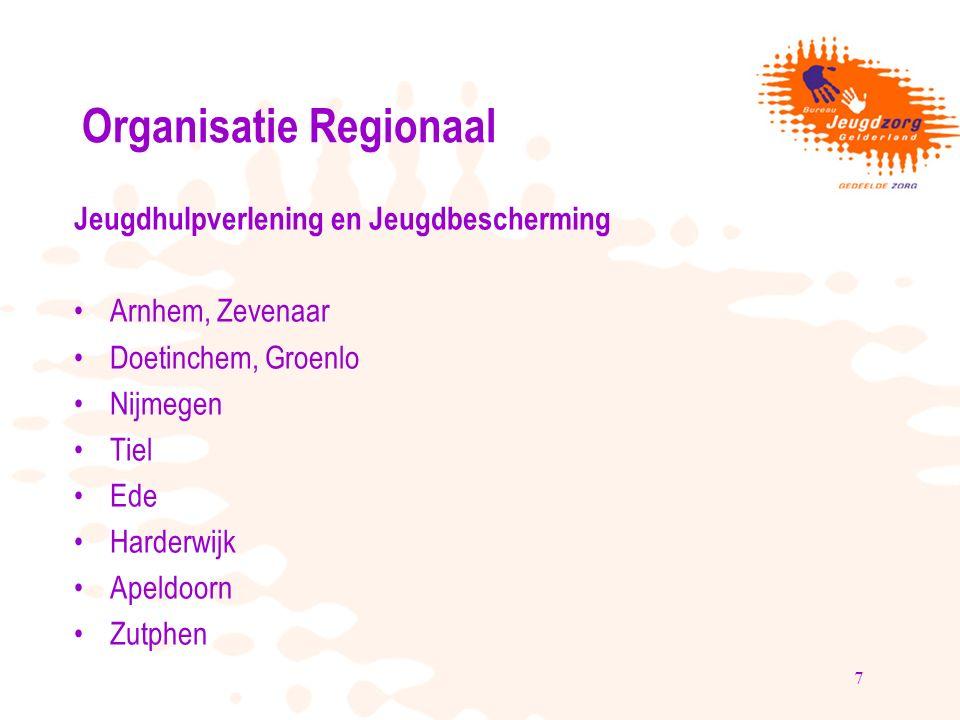 8 Organisatie Centraal Advies- en Meldpunt Kindermishandeling Velp Jeugdreclassering Velp Spoedeisende zorg Velp Kindertelefoon Nijmegen en Deventer Hoofdkantoor Arnhem