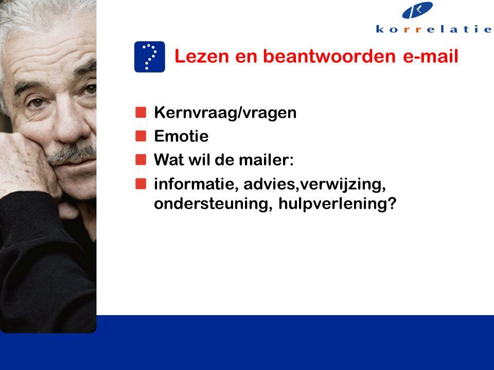Kernvraag/vragen Emotie Wat wil de mailer: informatie, advies,verwijzing, ondersteuning, hulpverlening.