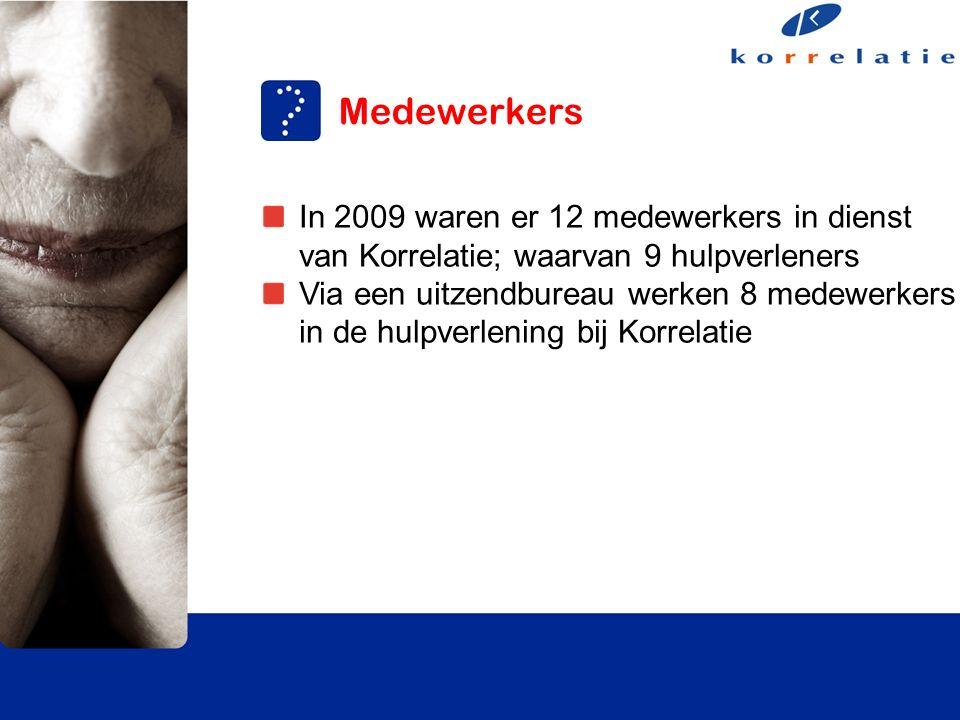 Medewerkers In 2009 waren er 12 medewerkers in dienst van Korrelatie; waarvan 9 hulpverleners Via een uitzendbureau werken 8 medewerkers in de hulpverlening bij Korrelatie