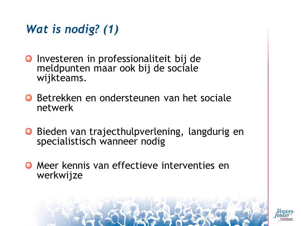 Wat is nodig? (1) Investeren in professionaliteit bij de meldpunten maar ook bij de sociale wijkteams. Betrekken en ondersteunen van het sociale netwe