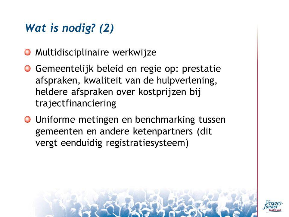 Wat is nodig? (2) Multidisciplinaire werkwijze Gemeentelijk beleid en regie op: prestatie afspraken, kwaliteit van de hulpverlening, heldere afspraken