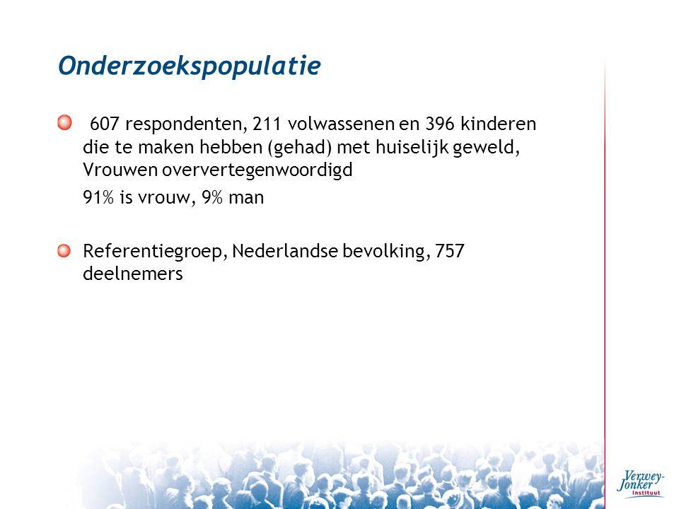 Onderzoekspopulatie 607 respondenten, 211 volwassenen en 396 kinderen die te maken hebben (gehad) met huiselijk geweld, Vrouwen oververtegenwoordigd 91% is vrouw, 9% man Referentiegroep, Nederlandse bevolking, 757 deelnemers