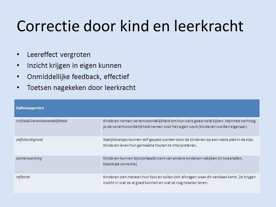 Correctie door kind en leerkracht Leereffect vergroten Inzicht krijgen in eigen kunnen Onmiddellijke feedback, effectief Toetsen nagekeken door leerkr