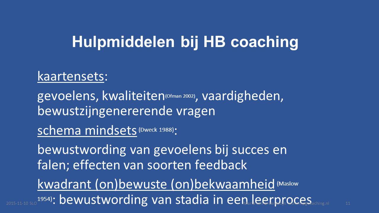 Hulpmiddelen bij HB coaching kaartensets: gevoelens, kwaliteiten (Ofman 2002), vaardigheden, bewustzijngenererende vragen schema mindsets (Dweck 1988) : bewustwording van gevoelens bij succes en falen; effecten van soorten feedback kwadrant (on)bewuste (on)bekwaamheid (Maslow 1954) : bewustwording van stadia in een leerproces 2015-11-10 SLOMaria van Groenestijn www.mpgcoaching.nl11