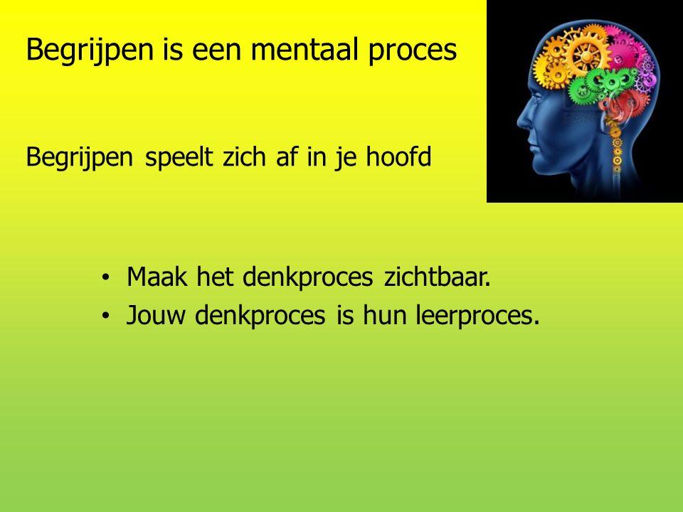 Begrijpen is een mentaal proces Begrijpen speelt zich af in je hoofd Maak het denkproces zichtbaar. Jouw denkproces is hun leerproces.