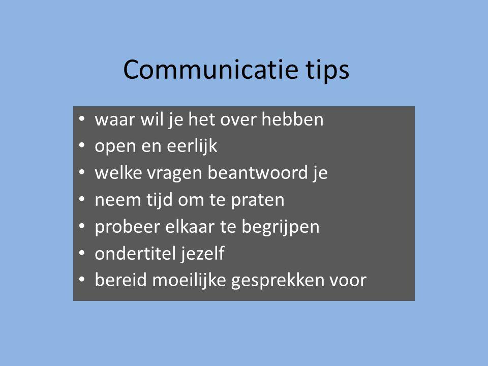 Communicatie tips waar wil je het over hebben open en eerlijk welke vragen beantwoord je neem tijd om te praten probeer elkaar te begrijpen ondertitel jezelf bereid moeilijke gesprekken voor