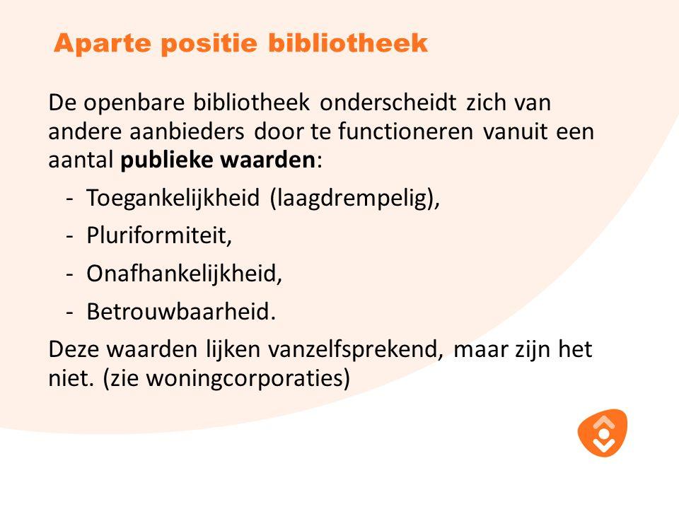 Aparte positie bibliotheek De openbare bibliotheek onderscheidt zich van andere aanbieders door te functioneren vanuit een aantal publieke waarden: - Toegankelijkheid (laagdrempelig), - Pluriformiteit, - Onafhankelijkheid, - Betrouwbaarheid.