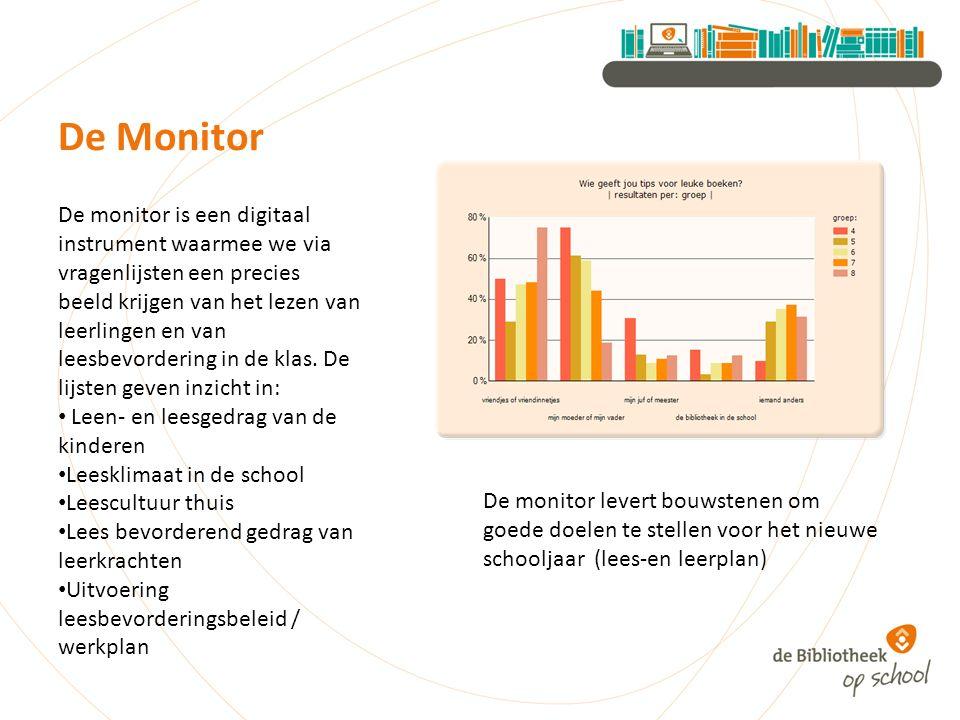 De Monitor De monitor is een digitaal instrument waarmee we via vragenlijsten een precies beeld krijgen van het lezen van leerlingen en van leesbevordering in de klas.