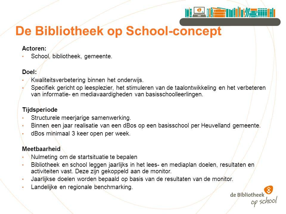 De Bibliotheek op School-concept Actoren: School, bibliotheek, gemeente.
