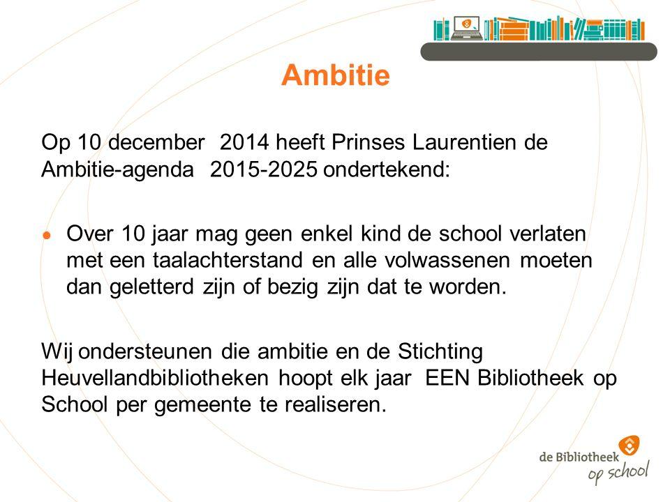 Ambitie Op 10 december 2014 heeft Prinses Laurentien de Ambitie-agenda 2015-2025 ondertekend: ● Over 10 jaar mag geen enkel kind de school verlaten met een taalachterstand en alle volwassenen moeten dan geletterd zijn of bezig zijn dat te worden.