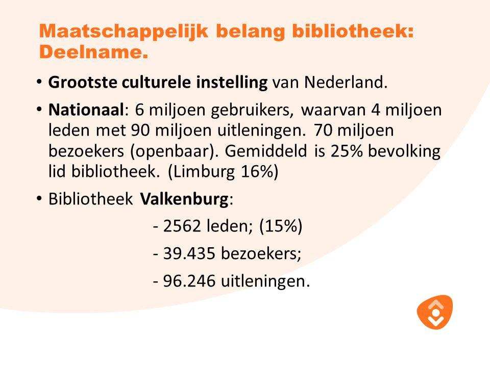 Maatschappelijk belang bibliotheek: Deelname. Grootste culturele instelling van Nederland.
