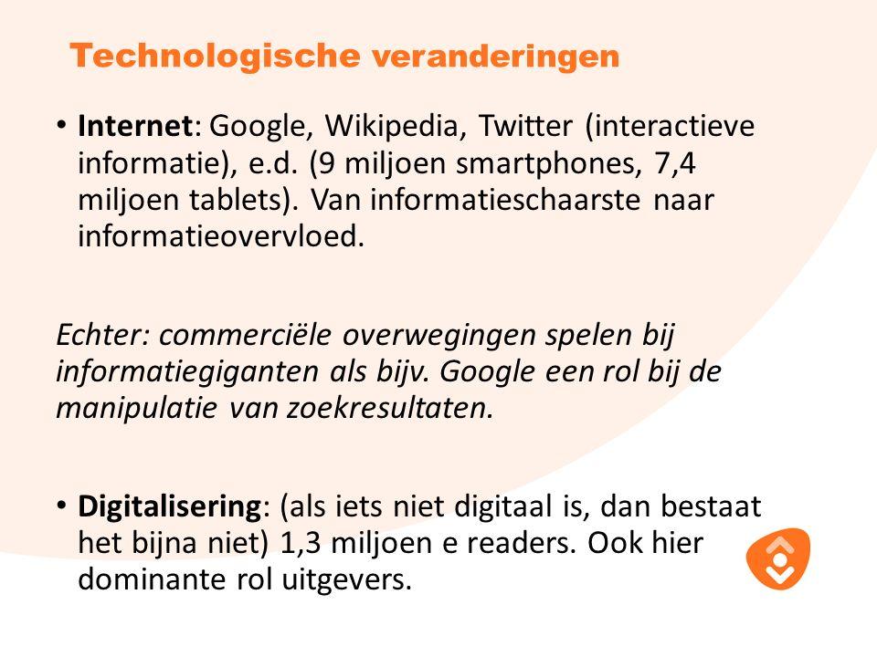 Technologische veranderingen Internet: Google, Wikipedia, Twitter (interactieve informatie), e.d.