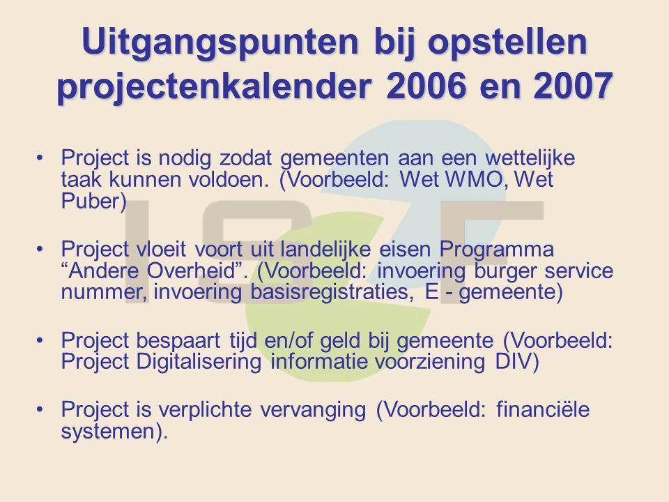 Uitgangspunten bij opstellen projectenkalender 2006 en 2007 Project is nodig zodat gemeenten aan een wettelijke taak kunnen voldoen.