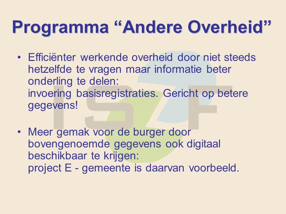 Programma Andere Overheid Efficiënter werkende overheid door niet steeds hetzelfde te vragen maar informatie beter onderling te delen: invoering basisregistraties.