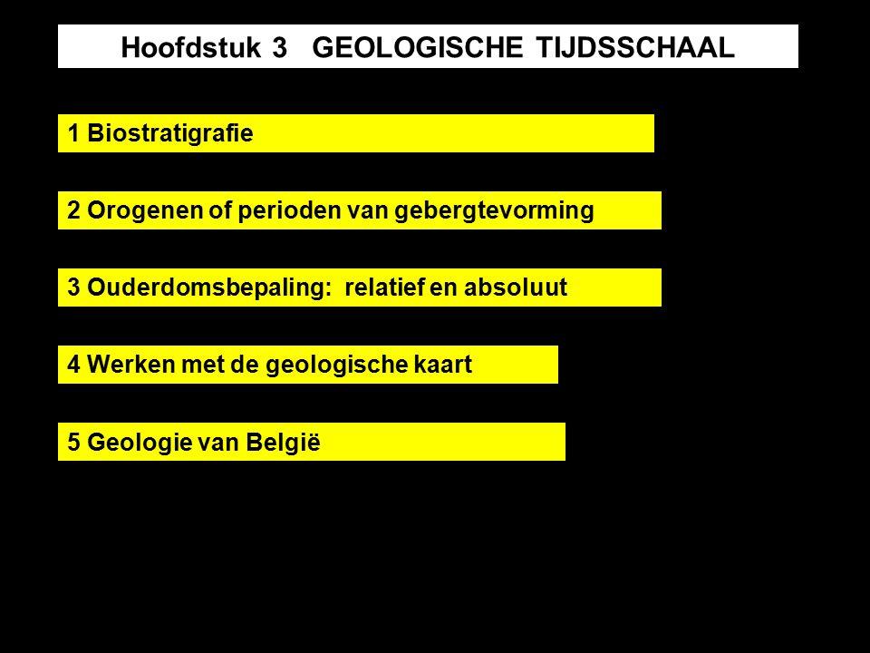 Hoofdstuk 3 GEOLOGISCHE TIJDSSCHAAL 1 Biostratigrafie 2 Orogenen of perioden van gebergtevorming 3 Ouderdomsbepaling: relatief en absoluut 4 Werken met de geologische kaart 5 Geologie van België