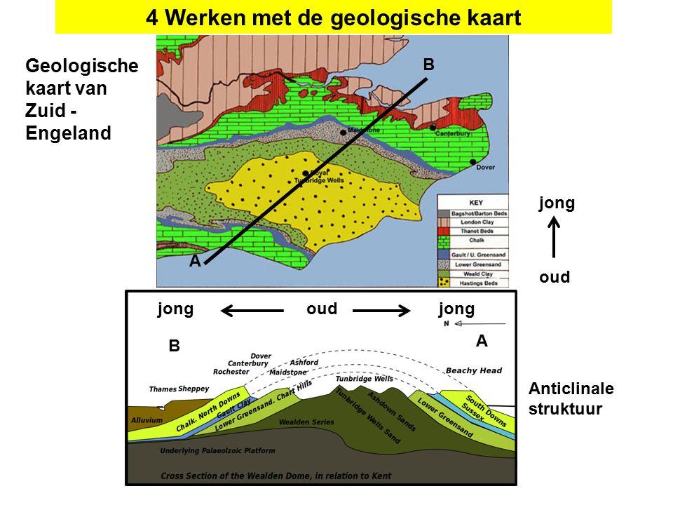 A B A B oud jong 4 Werken met de geologische kaart oudjong Anticlinale struktuur Geologische kaart van Zuid - Engeland