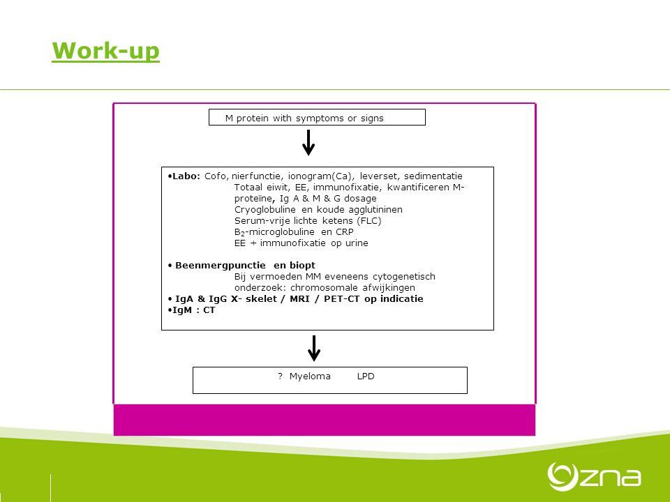 Work-up M protein with symptoms or signs Labo: Cofo, nierfunctie, ionogram(Ca), leverset, sedimentatie Totaal eiwit, EE, immunofixatie, kwantificeren
