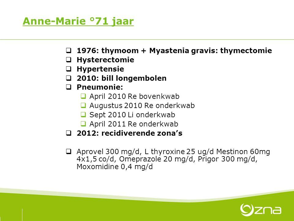 Anne-Marie °71 jaar  1976: thymoom + Myastenia gravis: thymectomie  Hysterectomie  Hypertensie  2010: bill longembolen  Pneumonie:  April 2010 Re bovenkwab  Augustus 2010 Re onderkwab  Sept 2010 Li onderkwab  April 2011 Re onderkwab  2012: recidiverende zona's  Aprovel 300 mg/d, L thyroxine 25 ug/d Mestinon 60mg 4x1,5 co/d, Omeprazole 20 mg/d, Prigor 300 mg/d, Moxomidine 0,4 mg/d
