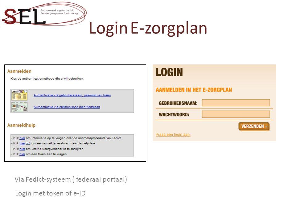 Login E-zorgplan Login met token of e-ID Via Fedict-systeem ( federaal portaal)