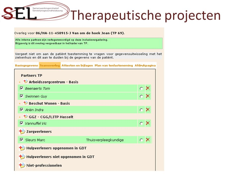 Therapeutische projecten