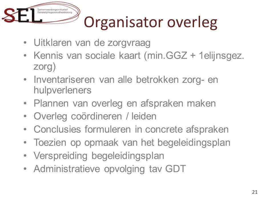 Organisator overleg Uitklaren van de zorgvraag Kennis van sociale kaart (min.GGZ + 1elijnsgez.