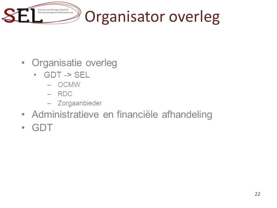 Organisator overleg Organisatie overleg GDT -> SEL –OCMW –RDC –Zorgaanbieder Administratieve en financiële afhandeling GDT 22