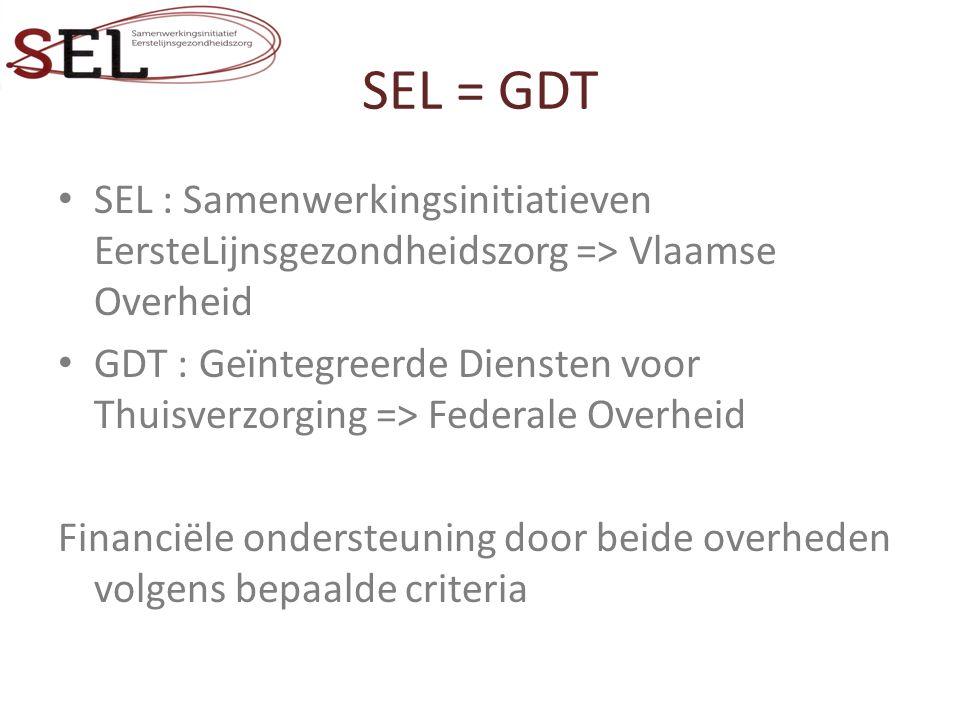 SEL = GDT SEL : Samenwerkingsinitiatieven EersteLijnsgezondheidszorg => Vlaamse Overheid GDT : Geïntegreerde Diensten voor Thuisverzorging => Federale Overheid Financiële ondersteuning door beide overheden volgens bepaalde criteria