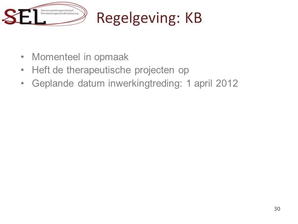 Regelgeving: KB Momenteel in opmaak Heft de therapeutische projecten op Geplande datum inwerkingtreding: 1 april 2012 30