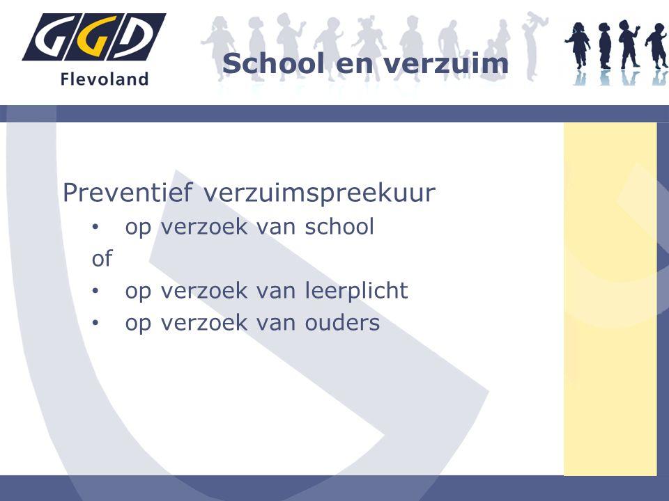 School en verzuim Preventief verzuimspreekuur op verzoek van school of op verzoek van leerplicht op verzoek van ouders