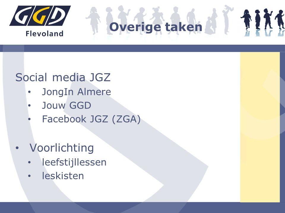 Overige taken Social media JGZ JongIn Almere Jouw GGD Facebook JGZ (ZGA) Voorlichting leefstijllessen leskisten
