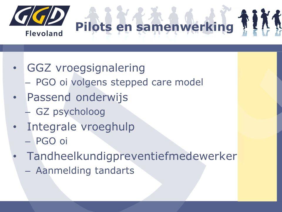 Pilots en samenwerking GGZ vroegsignalering – PGO oi volgens stepped care model Passend onderwijs – GZ psycholoog Integrale vroeghulp – PGO oi Tandhee