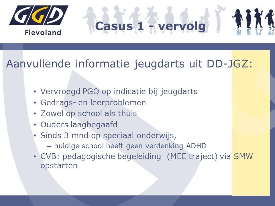 Aanvullende informatie jeugdarts uit DD-JGZ: Vervroegd PGO op indicatie bij jeugdarts Gedrags- en leerproblemen Zowel op school als thuis Ouders laagb