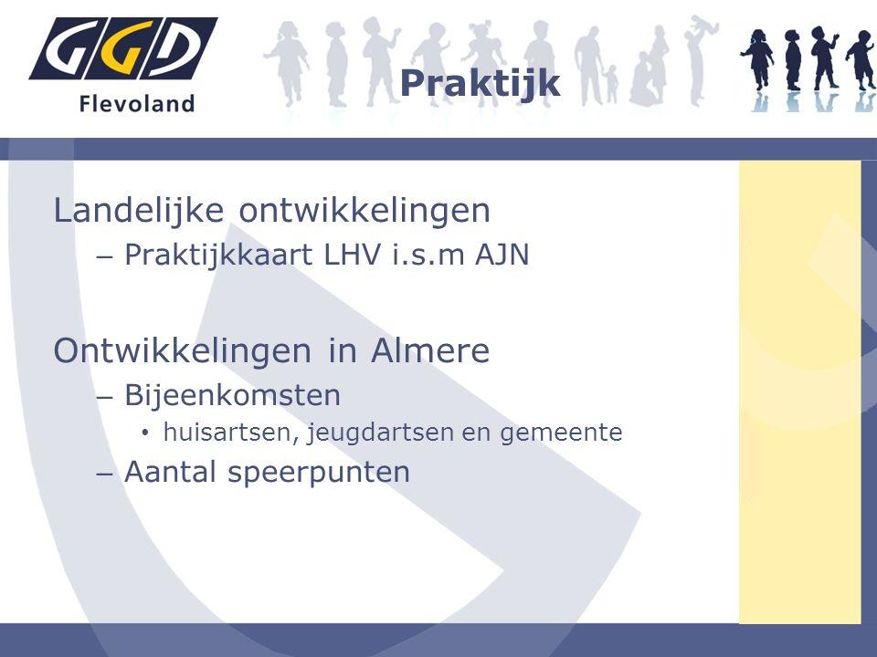 Praktijk Landelijke ontwikkelingen – Praktijkkaart LHV i.s.m AJN Ontwikkelingen in Almere – Bijeenkomsten huisartsen, jeugdartsen en gemeente – Aantal