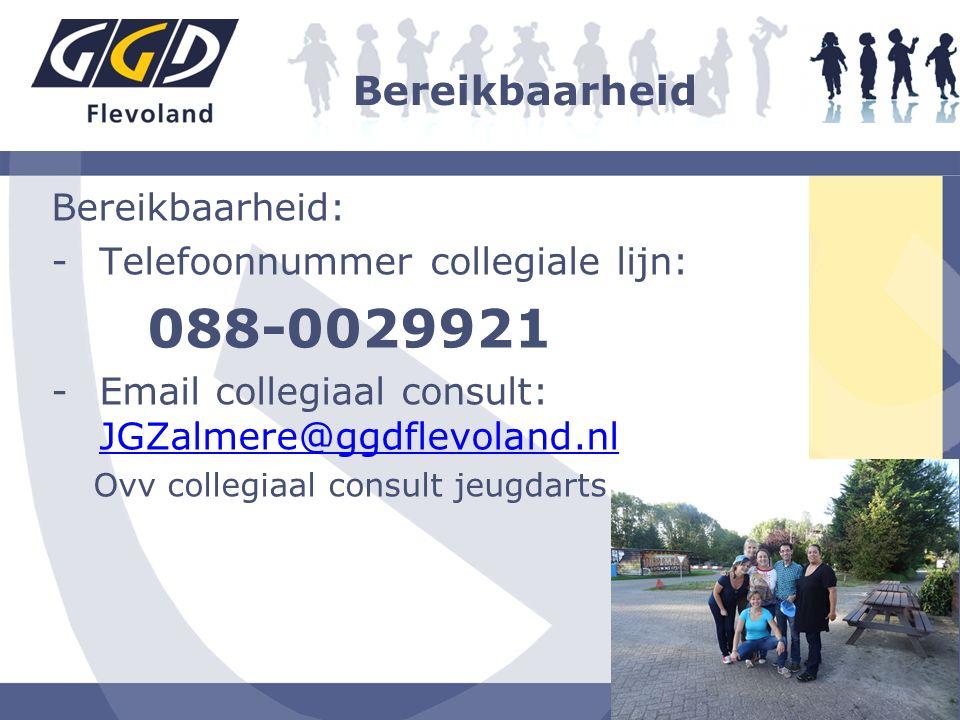 Bereikbaarheid Bereikbaarheid: -Telefoonnummer collegiale lijn: 088-0029921 -Email collegiaal consult: JGZalmere@ggdflevoland.nl JGZalmere@ggdflevolan