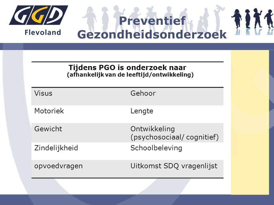 Preventief Gezondheidsonderzoek Tijdens PGO is onderzoek naar (afhankelijk van de leeftijd/ontwikkeling) VisusGehoor MotoriekLengte GewichtOntwikkelin