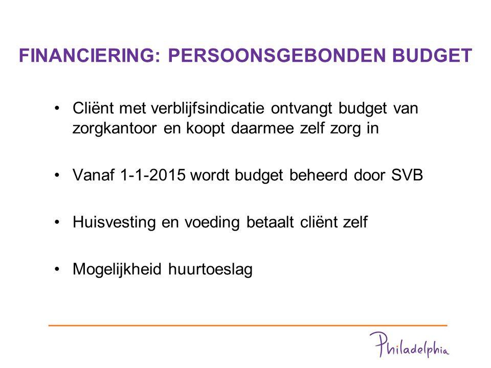 FINANCIERING: PERSOONSGEBONDEN BUDGET Cliënt met verblijfsindicatie ontvangt budget van zorgkantoor en koopt daarmee zelf zorg in Vanaf 1-1-2015 wordt budget beheerd door SVB Huisvesting en voeding betaalt cliënt zelf Mogelijkheid huurtoeslag