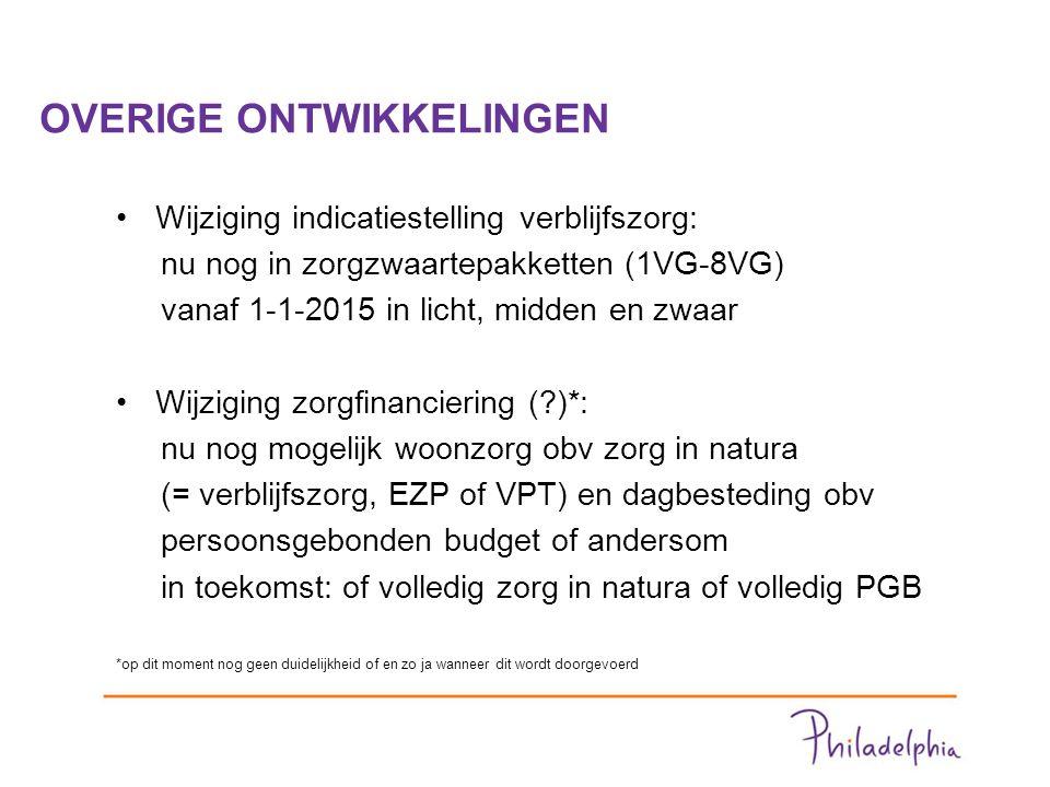 OVERIGE ONTWIKKELINGEN Wijziging indicatiestelling verblijfszorg: nu nog in zorgzwaartepakketten (1VG-8VG) vanaf 1-1-2015 in licht, midden en zwaar Wijziging zorgfinanciering ( )*: nu nog mogelijk woonzorg obv zorg in natura (= verblijfszorg, EZP of VPT) en dagbesteding obv persoonsgebonden budget of andersom in toekomst: of volledig zorg in natura of volledig PGB *op dit moment nog geen duidelijkheid of en zo ja wanneer dit wordt doorgevoerd