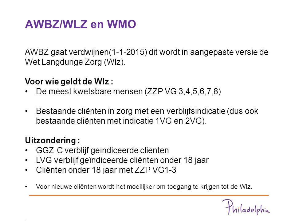 AWBZ/WLZ en WMO 3 AWBZ gaat verdwijnen(1-1-2015) dit wordt in aangepaste versie de Wet Langdurige Zorg (Wlz).