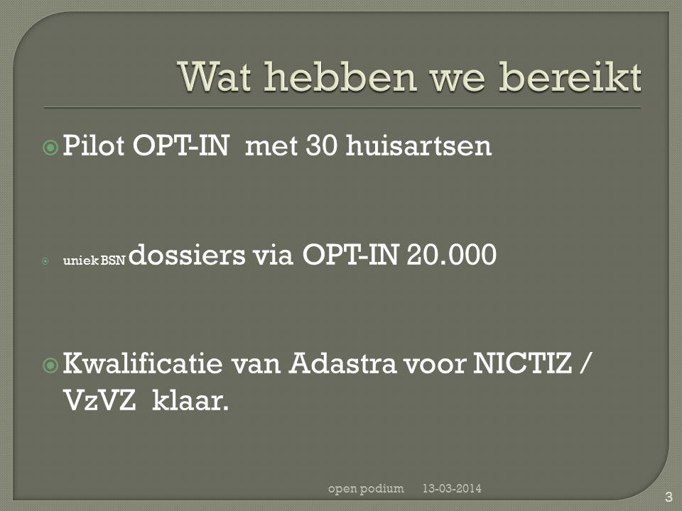  Pilot OPT-IN met 30 huisartsen  uniek BSN dossiers via OPT-IN 20.000  Kwalificatie van Adastra voor NICTIZ / VzVZ klaar. 13-03-2014open podium 3