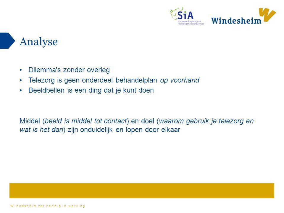 Windesheim zet kennis in werking Analyse Dilemma s zonder overleg Telezorg is geen onderdeel behandelplan op voorhand Beeldbellen is een ding dat je kunt doen Middel (beeld is middel tot contact) en doel (waarom gebruik je telezorg en wat is het dan) zijn onduidelijk en lopen door elkaar