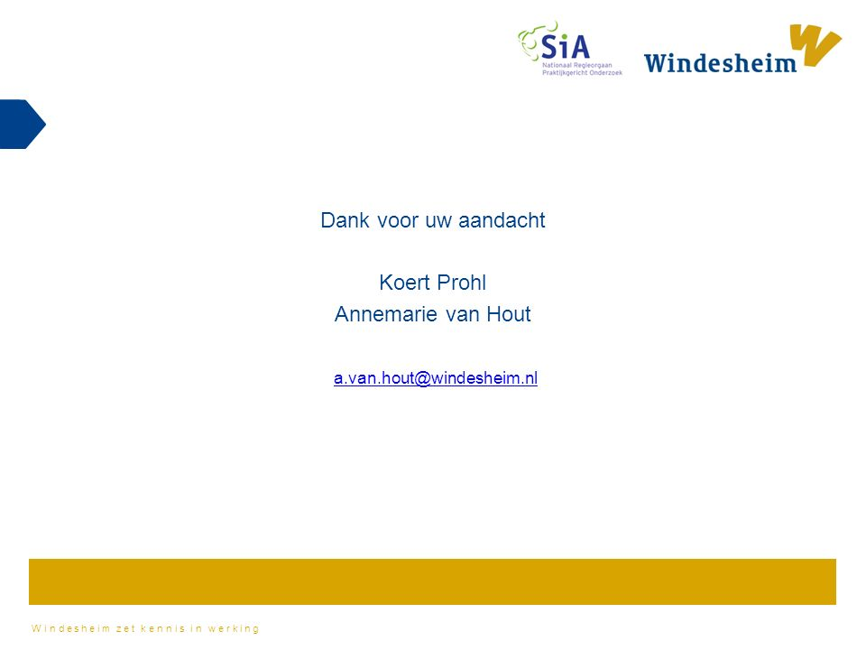Windesheim zet kennis in werking Dank voor uw aandacht Koert Prohl Annemarie van Hout a.van.hout@windesheim.nl