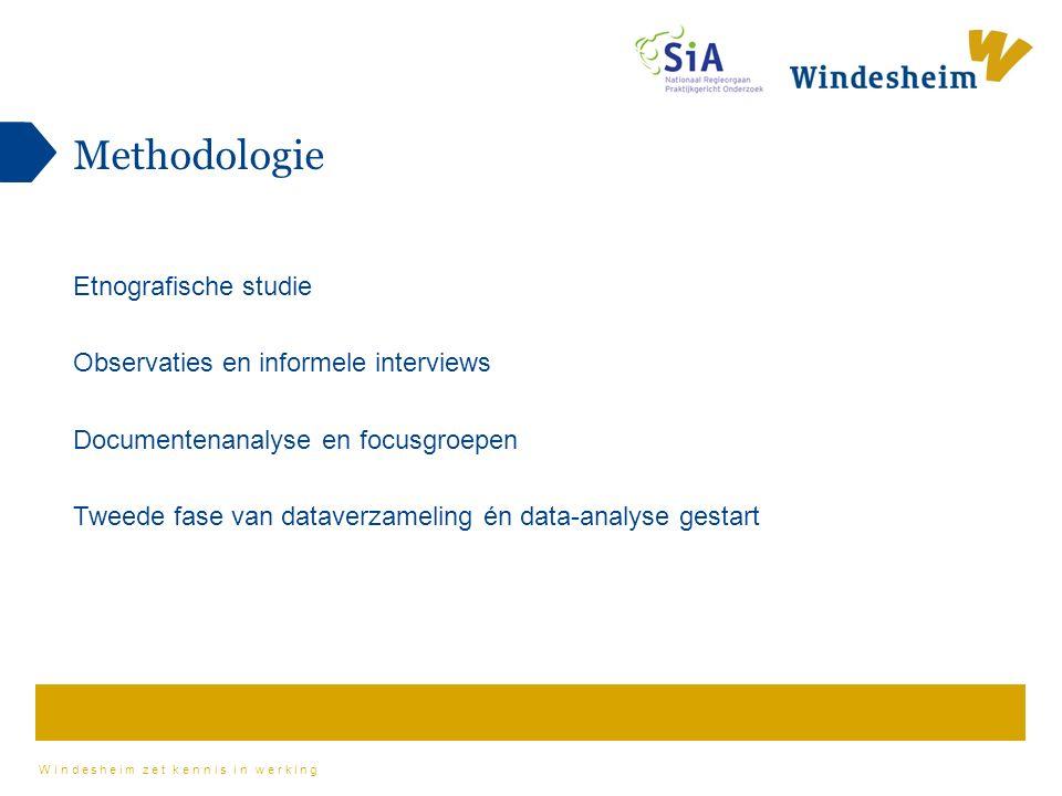 Windesheim zet kennis in werking Methodologie Etnografische studie Observaties en informele interviews Documentenanalyse en focusgroepen Tweede fase van dataverzameling én data-analyse gestart