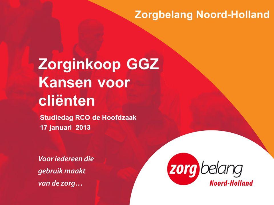 Zorgbelang Noord-Holland Studiedag RCO de Hoofdzaak 17 januari 2013 Zorginkoop GGZ Kansen voor cliënten