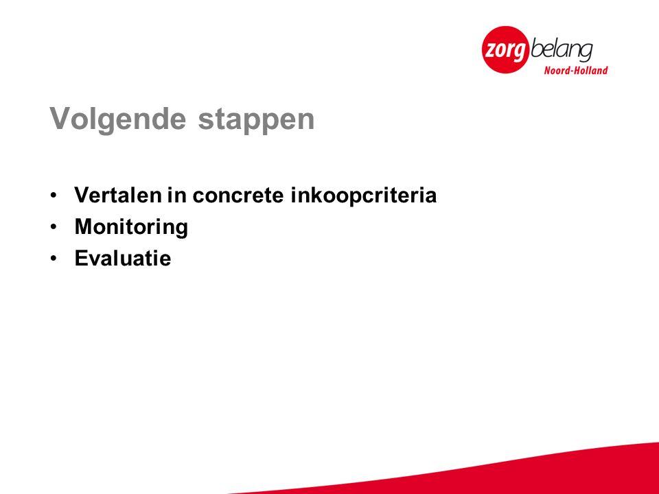 Volgende stappen Vertalen in concrete inkoopcriteria Monitoring Evaluatie