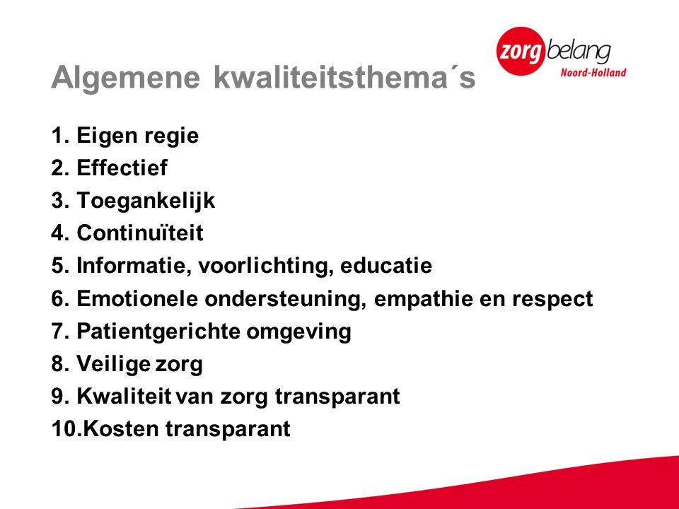 Algemene kwaliteitsthema´s 1.Eigen regie 2.Effectief 3.Toegankelijk 4.Continuïteit 5.Informatie, voorlichting, educatie 6.Emotionele ondersteuning, empathie en respect 7.Patientgerichte omgeving 8.Veilige zorg 9.Kwaliteit van zorg transparant 10.Kosten transparant
