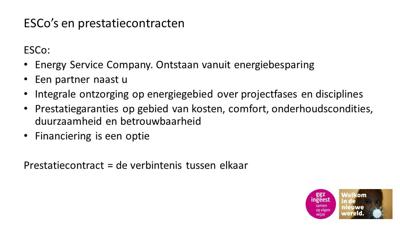 ESCo's en prestatiecontracten ESCo: Energy Service Company.