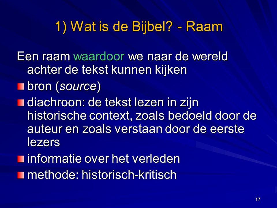 1) Wat is de Bijbel.